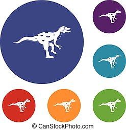 Ornithopod dinosaur icons set in flat circle red, blue and...