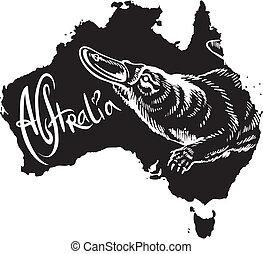 ornitorinco, come, australiano, simbolo
