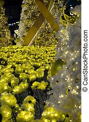 oro, árbol, luces,  Defocused, Plano de fondo, adornado, navidad