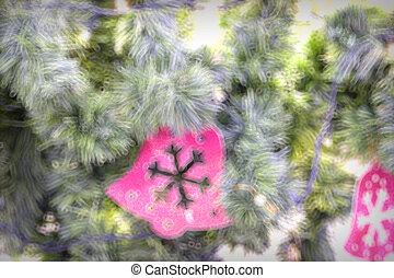 oro, árbol, luces, Plano de fondo,  de-focused, adornado, navidad