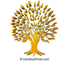 oro, árbol, prosperidad, símbolo, 3d, logotipo