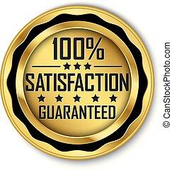 oro, 100%, guaranteed, illustrazione, soddisfazione, vettore, etichetta