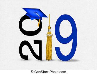 oro, 2019, graduación, borla, gorra, azul