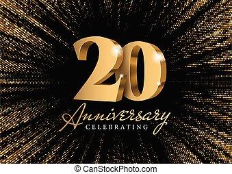 oro, 3d, aniversario, numbers., 20.