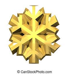 oro, 3d, fiocco di neve