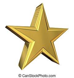 oro, 3d, stella