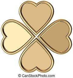 oro, 4, foglie, trifoglio