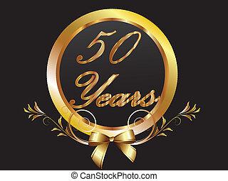 oro, 50th, anniversario, compleanno, vect