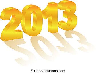 oro, año, dimensional, 3, nuevo, número, 2013