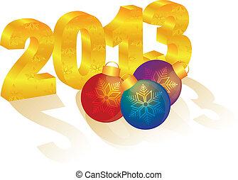 oro, año, ornamentos, nuevo, número, 2013, 3d