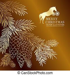 oro, abeto, pinecone., navidad