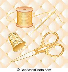 oro, aguja, tijeras, coser hilo