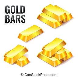 oro, aislado, icono, barras, fondo blanco, conjunto