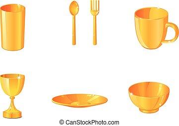 oro, alimento, utensilios, vector, iconos