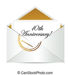 oro, anniversario, lettera, posta, 10, felice