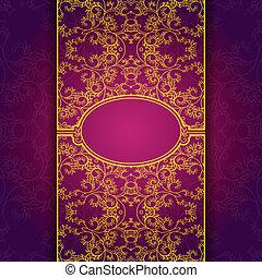 oro, astratto, invito, floreale, viola, cornice
