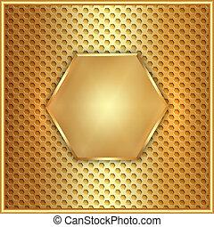 oro, astratto, metallo, vettore, esagono, cellule