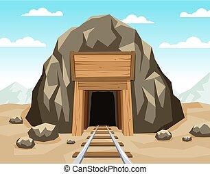 oro, barandas, mina, entrada, roca