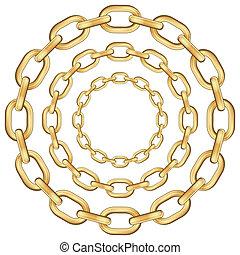 oro, círculo, cadena