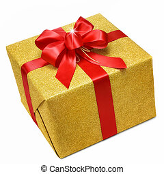 oro, caja obsequio, con, elegante, arco rojo