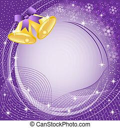 oro, campanas de navidad, en, púrpura