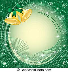 oro, campanas de navidad, en, verde