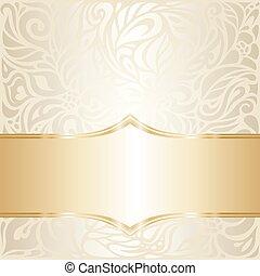 oro, &, carta da parati, ecru, disegno, invito, floreale, matrimonio