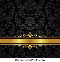 oro, carta da parati, seamless, nero, floreale, nastro