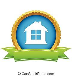 oro, casa, logotipo