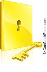 oro, cerrar con llave, libro, llave, concepto