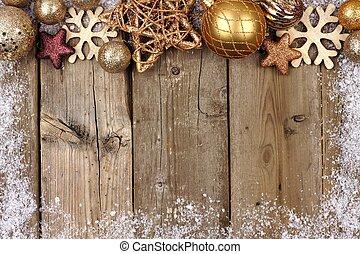 oro, cima, ornamento, rústico, madera, frontera, navidad