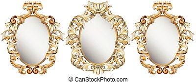 oro, classico, cornice, decorazione, set., dettagliato, ornamento, vettore, illustrazione