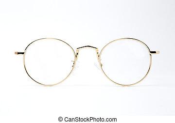 oro, classico, fondo, bianco, vetri rotondi