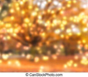 oro, confuso, luces, plano de fondo