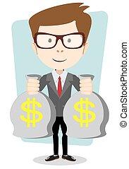 oro, contanti, illustrazione, borsa, vettore, banchiere, dollar., uomo affari, o
