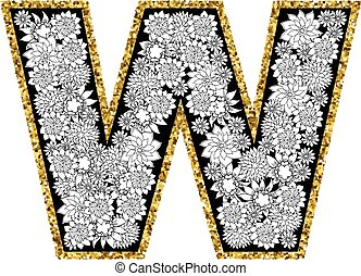 oro, contour., alfabeto, mano, lettera, w., floreale,...