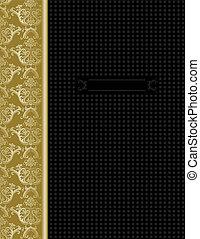 oro, &, coperchio, disegno, lusso, nero