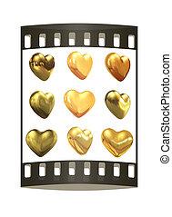oro, corazones, conjunto, para, boda, design., el, filme