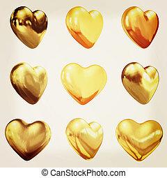 oro, corazones, conjunto, para, boda, diseño, ., 3d, illustration., vendimia, style.