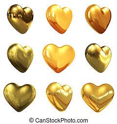 oro, corazones, conjunto, para, boda, diseño
