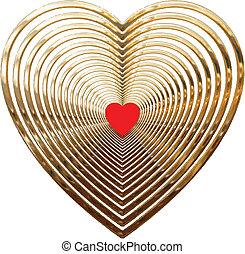 oro, corazones
