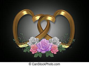 oro, corazones, y, rosas, en, negro