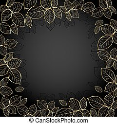 oro, cornice, con, leaves.