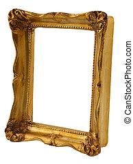 oro, cornice, da, prospettiva