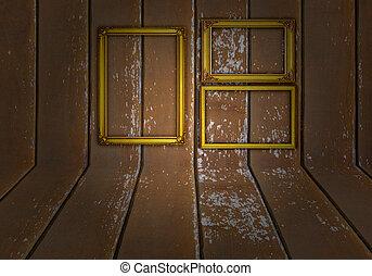oro, cornice, fondo, legno