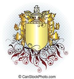 oro, cresta, elemento