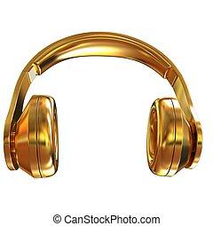 oro, cuffie, illustrazione, fondo., bianco, icona, 3d