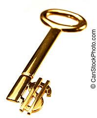 oro, dólar, llave