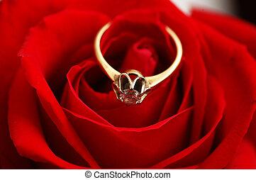 oro, diamante, rosa, rosso, anello