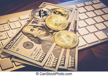 oro, dinero, bitcoin, nosotros, cryptocurrency, keybord.